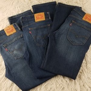 Levi's Bundle X 3  Dark Wash 514 W 33 L 32 EUC